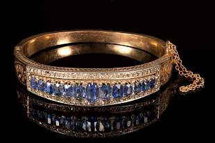 Victorian 14K Yellow Gold, Natural Sapphire and Diamond