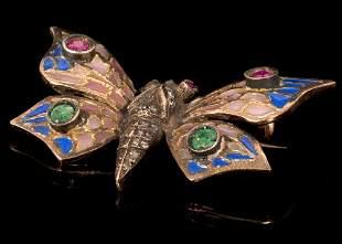 A Plique-A-Jour Enamel, Diamond and Gemstone Butterfly