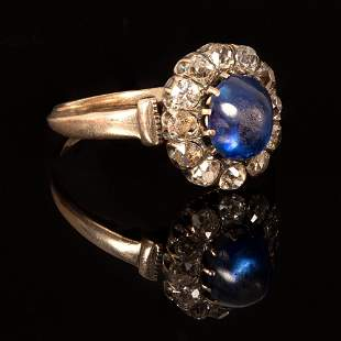 An Edwardian 14K Yellow Gold, sapphire and Diamond Ring