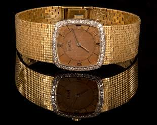 Vintage 18K Yellow Gold and Diamond Wristwatch, Piaget