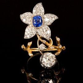 Antique Russian 18K Gold, Sapphire and Diamond Flower