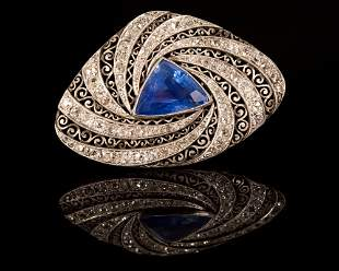 Edwardian 18K Yellow Gold, Silver, Sapphire and Diamond