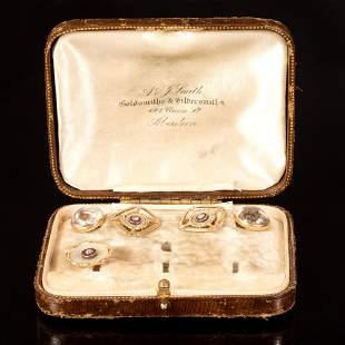 Gold, Essex Crystal, Ruby and Diamond Jewelry, Circa