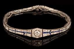 Art Deco, Platinum, Diamond and Sapphire Bracelet