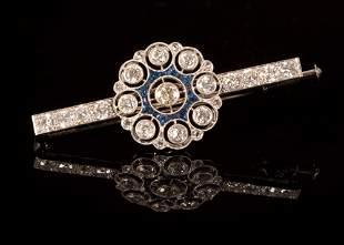 Fine Cartier Art Deco Platinum, Diamond and Sapphire
