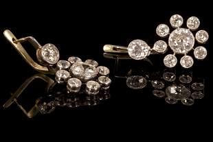 Fine Art Deco, Platinum 18K Gold and Diamond Earrings
