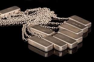 Important GEORG JENSEN 8 ingot silver necklace- signed