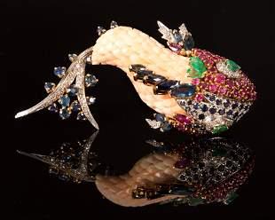 Designer 18K Gold, Coral, Gem and Diamond Fish Brooch