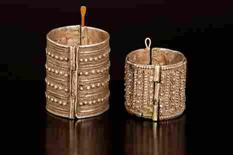A lot of two silver Yemenite bracelets - Yemen