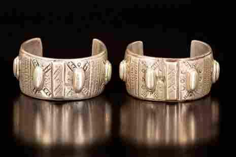 A pair of silver cuff bracelets - Fayyum, Egypt