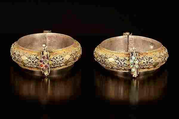 A pair of gilt silver Yemenite filigree (Shumaylat)