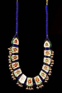 A double-sided Gold foil, enamel and pearl necklace -