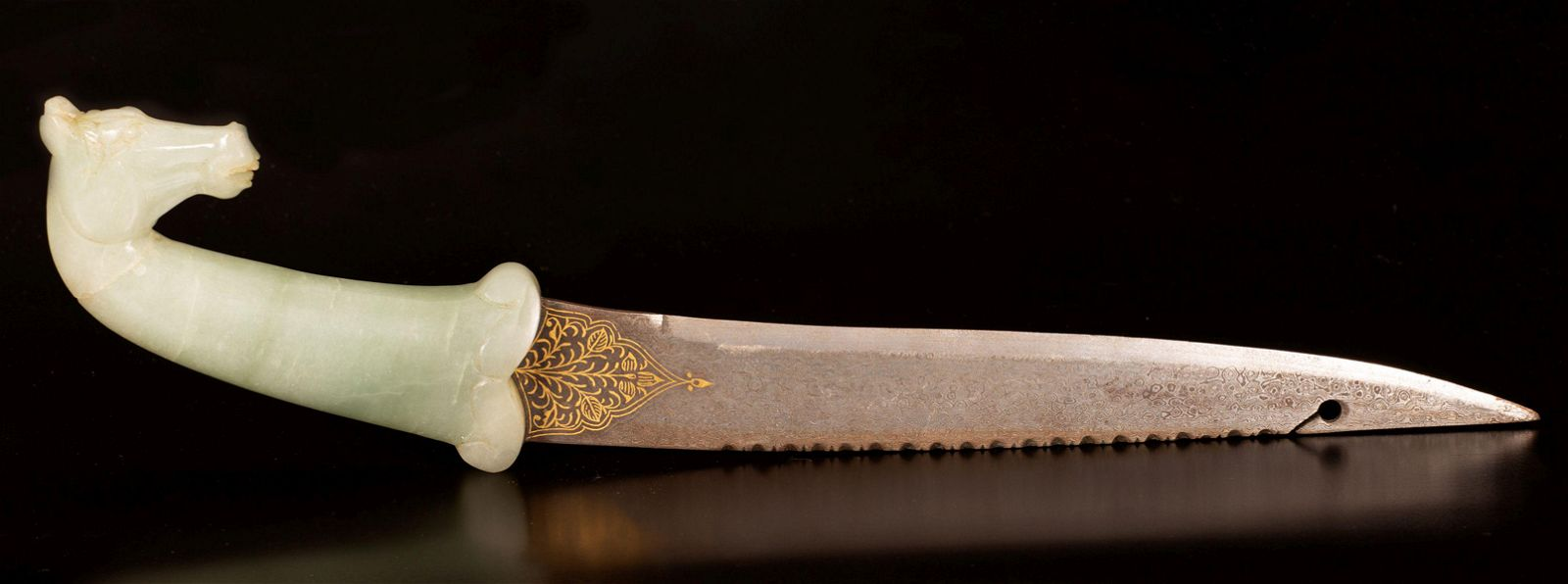 Moghul style gold inlay dagger with a jade hilt