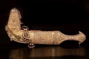 important Islamic gilt silver jambiya dagger - Middle