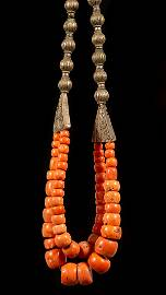 A large and silver and coral beads necklace - Yemen
