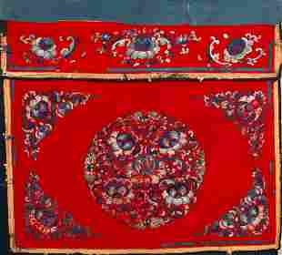 Silk embroidery on cotton - China - Qing dynasty