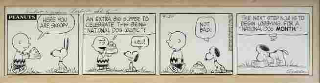 1960 Charles Schulz Original Daily Cartoon Strip