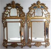 Pair Louis Xv 18th C Carved Giltwood Mirrors