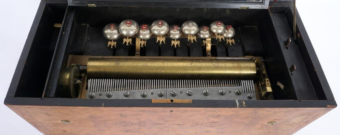 Swiss Cylinder Music Box With 9 Bells - 2