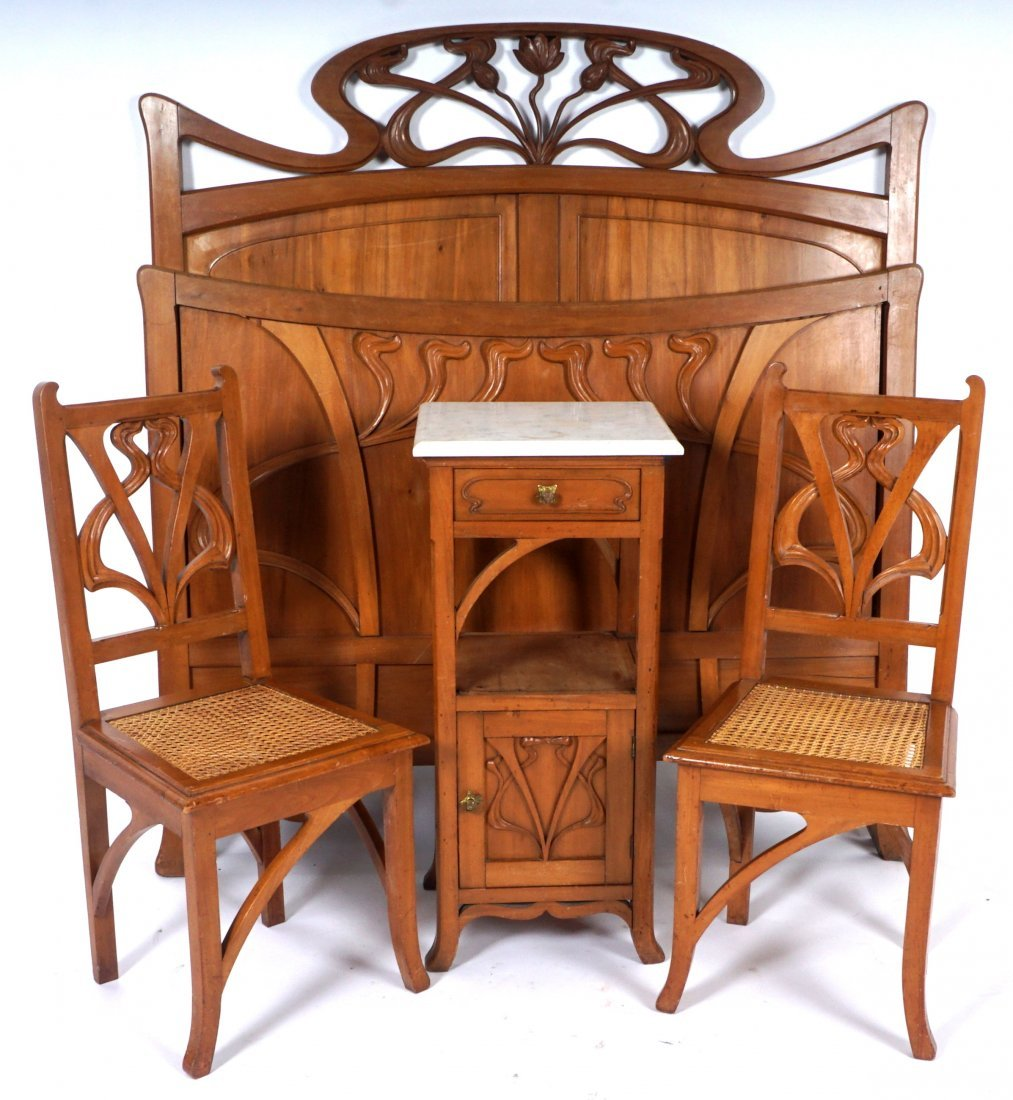 French Art Nouveau Carved Walnut Bedroom Suite