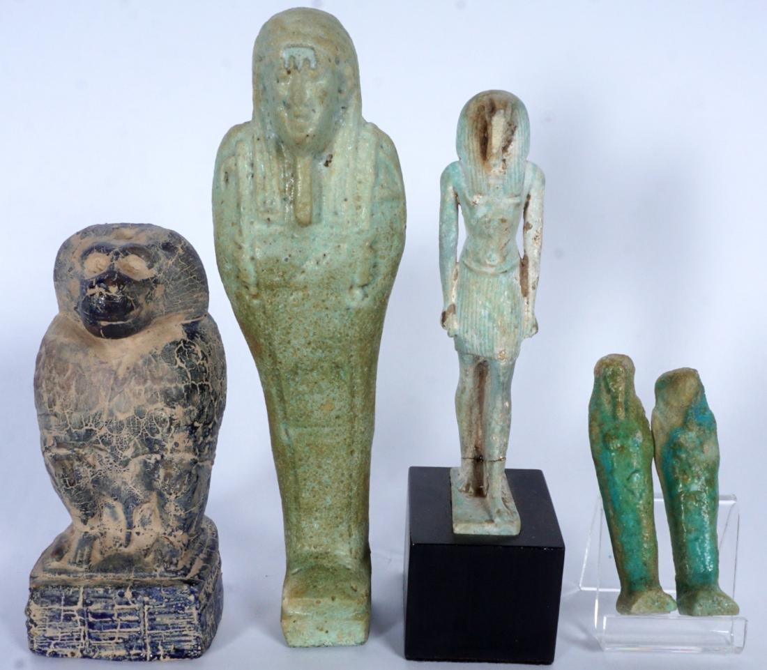 5 Egyptian Ushabti & Thoth Baboon Figure