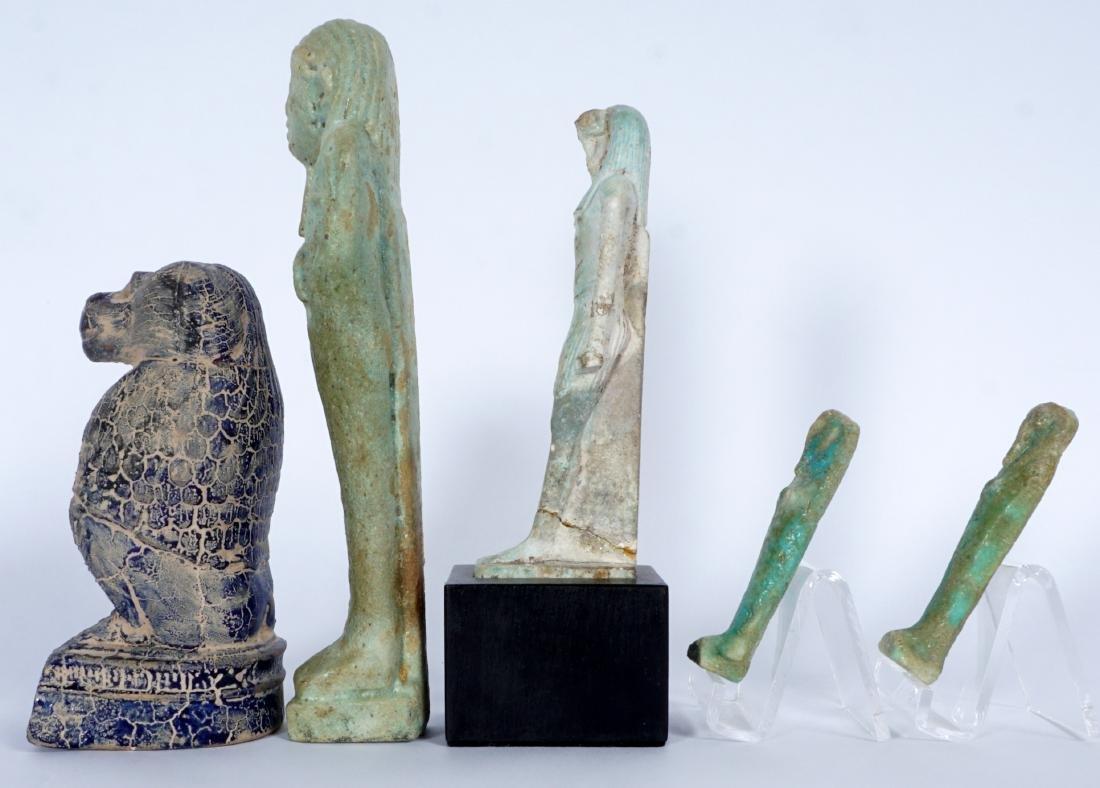 5 Egyptian Ushabti & Thoth Baboon Figure - 2