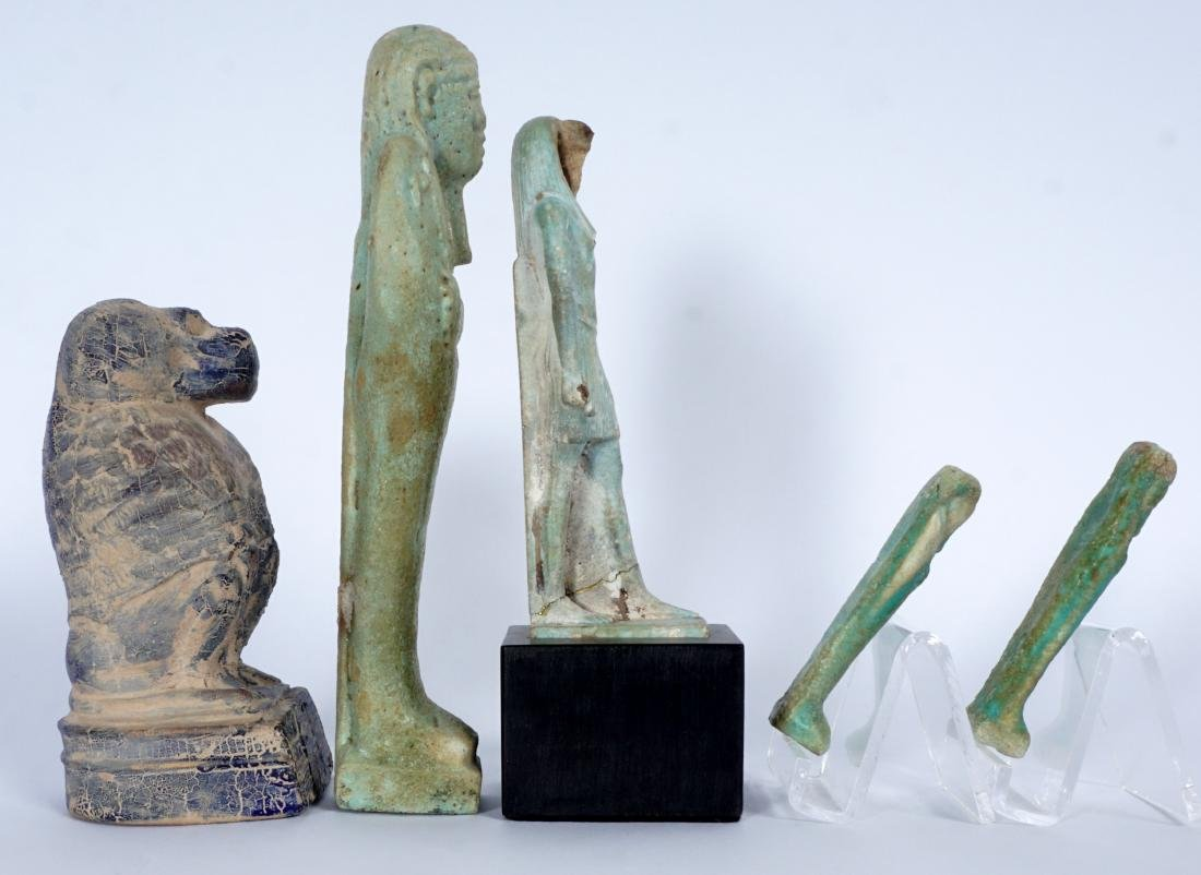 5 Egyptian Ushabti & Thoth Baboon Figure - 4