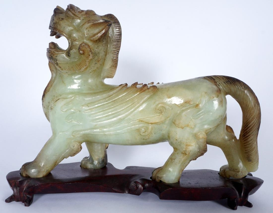Large Chinese Carved Nephrite Jade Chimera - 2