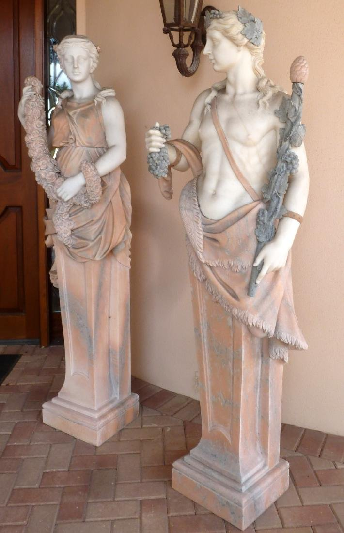 Large Pair Neoclassical Marble Man and Woman