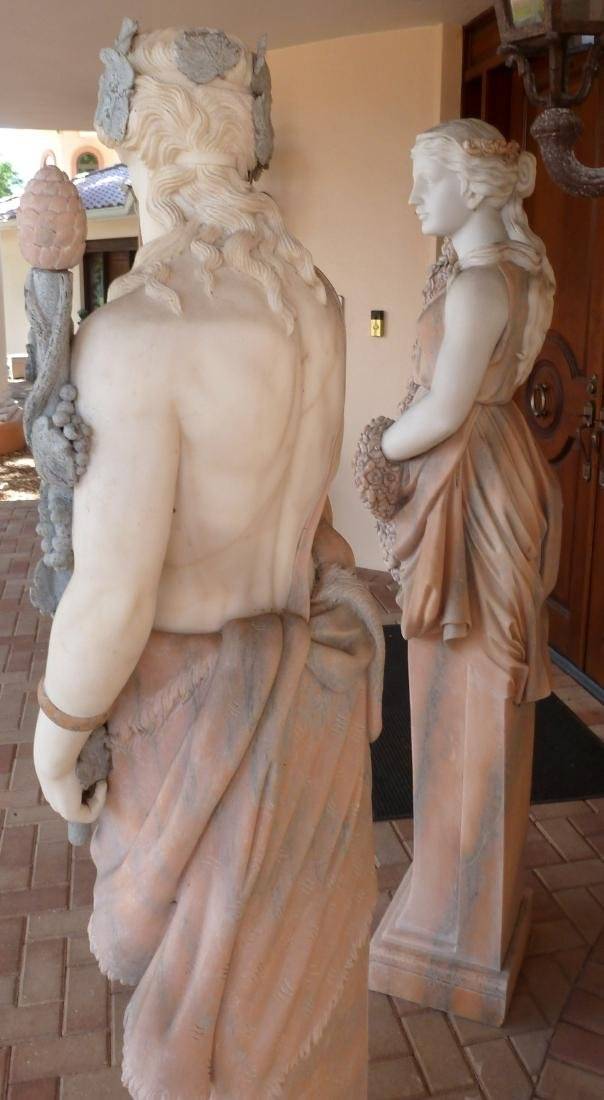 Large Pair Neoclassical Marble Man and Woman - 6