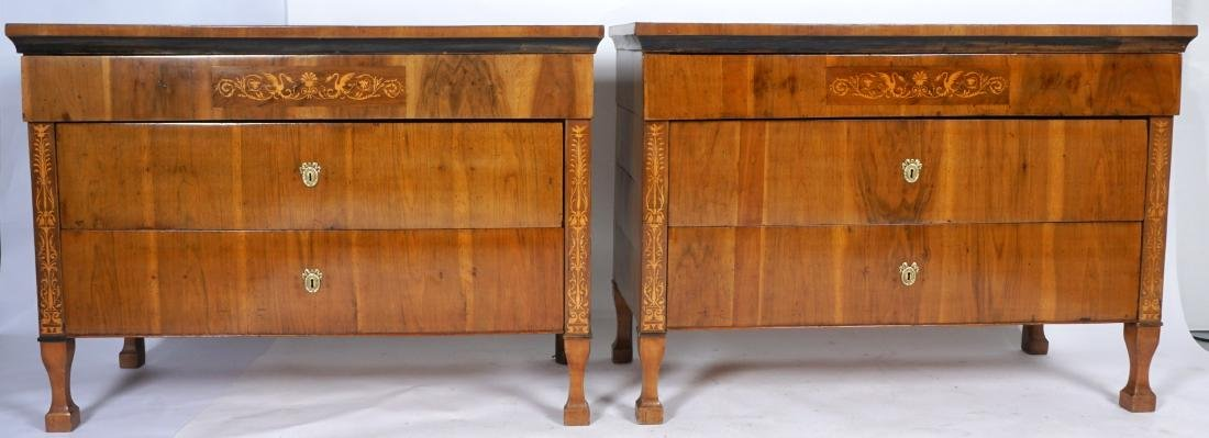 Pair Continental 3 Drawer Inlad Commodes
