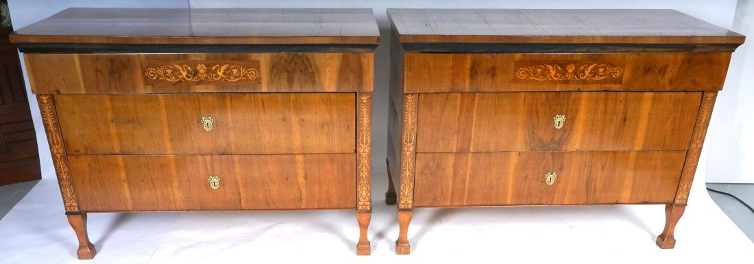 Pair Continental 3 Drawer Inlad Commodes - 2