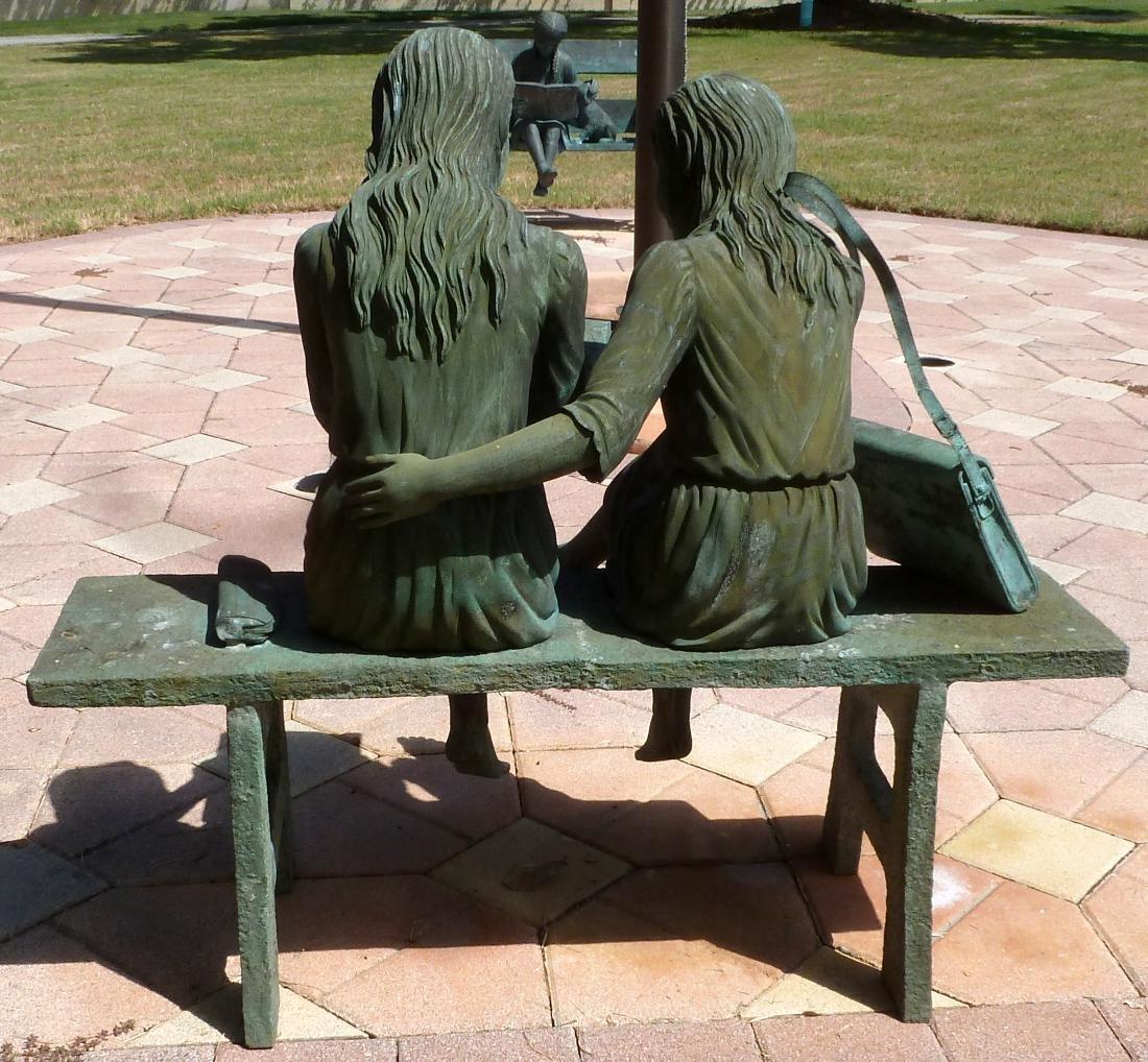 Bronze Garden Sculpture 2 Girls on a Bench - 9