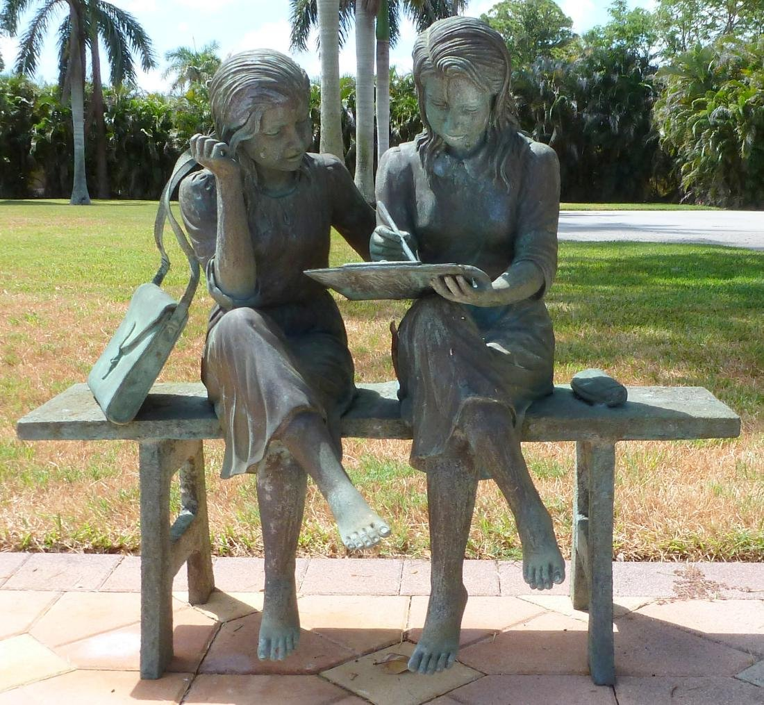 Bronze Garden Sculpture 2 Girls on a Bench