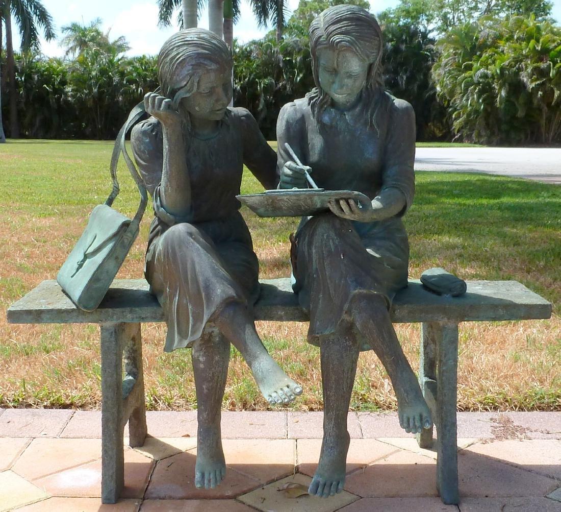 Bronze Garden Sculpture 2 Girls on a Bench - 2