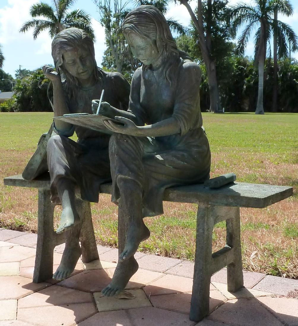 Bronze Garden Sculpture 2 Girls on a Bench - 3