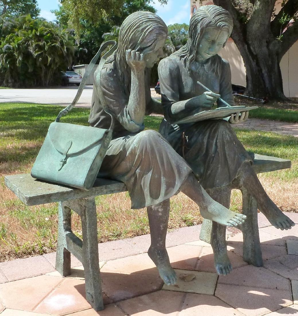 Bronze Garden Sculpture 2 Girls on a Bench - 4
