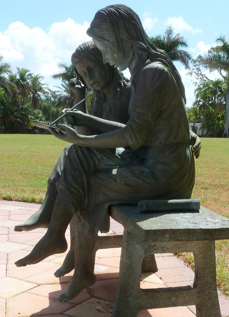 Bronze Garden Sculpture 2 Girls on a Bench - 6