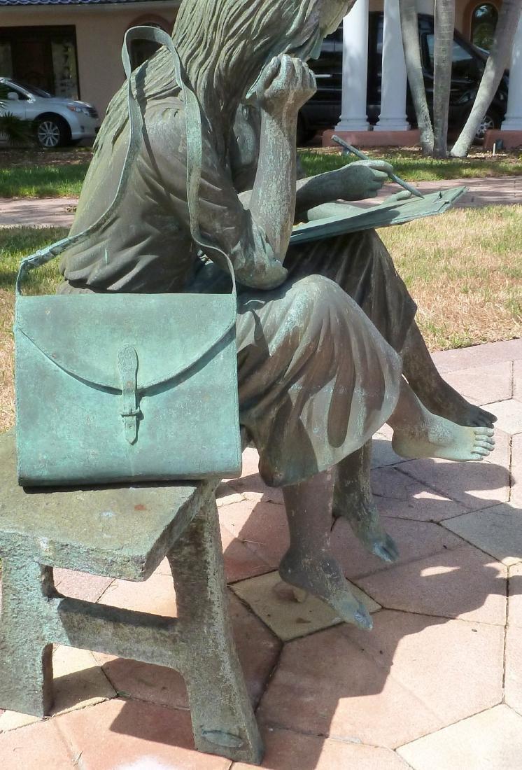 Bronze Garden Sculpture 2 Girls on a Bench - 7