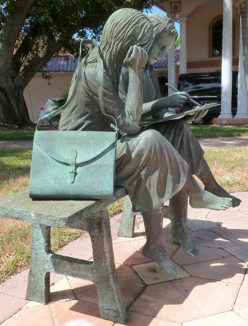 Bronze Garden Sculpture 2 Girls on a Bench - 8