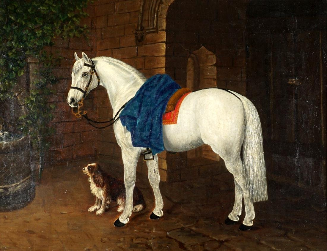 19th Century Horse & Dog Painting Signed Handy