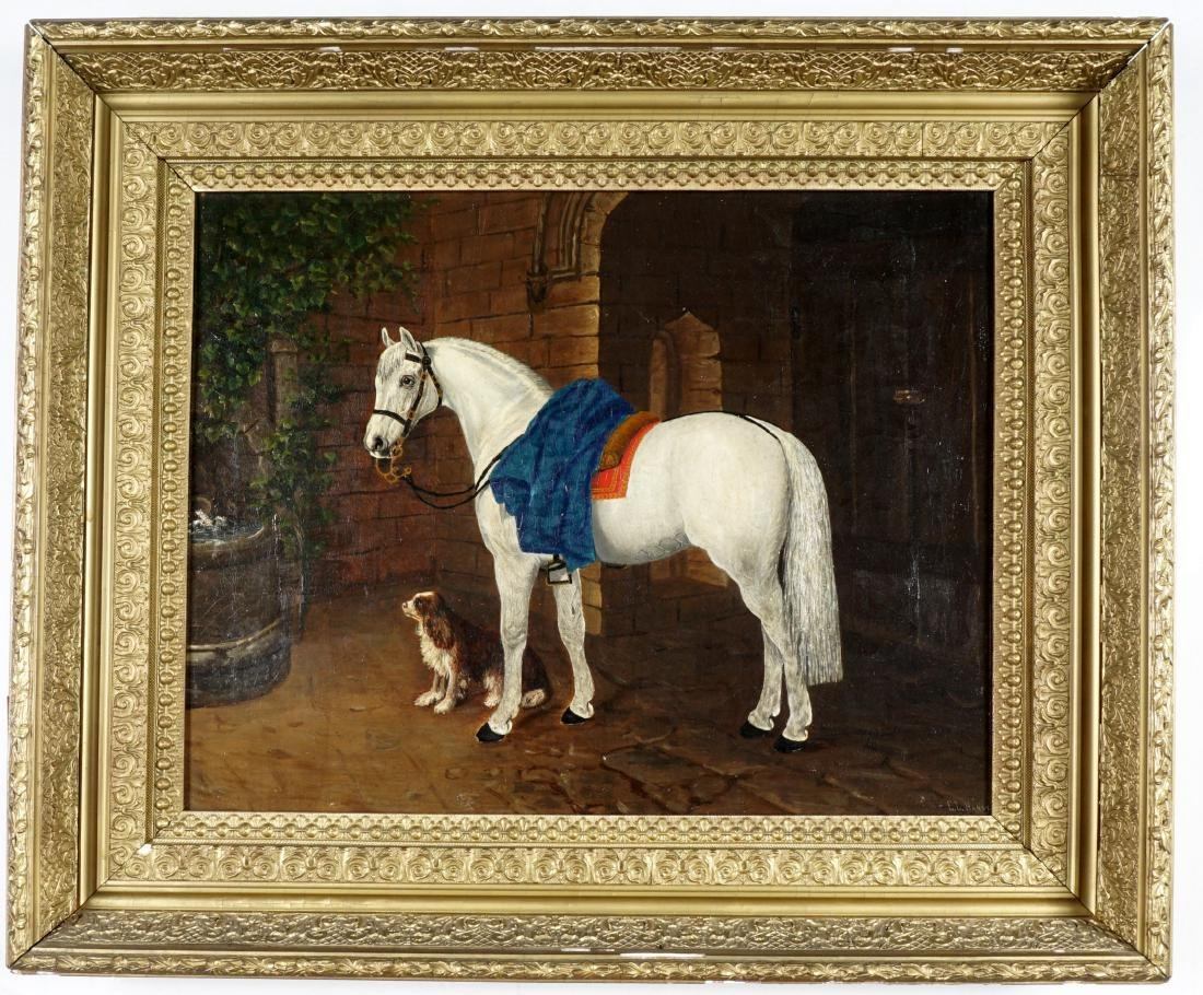 19th Century Horse & Dog Painting Signed Handy - 2