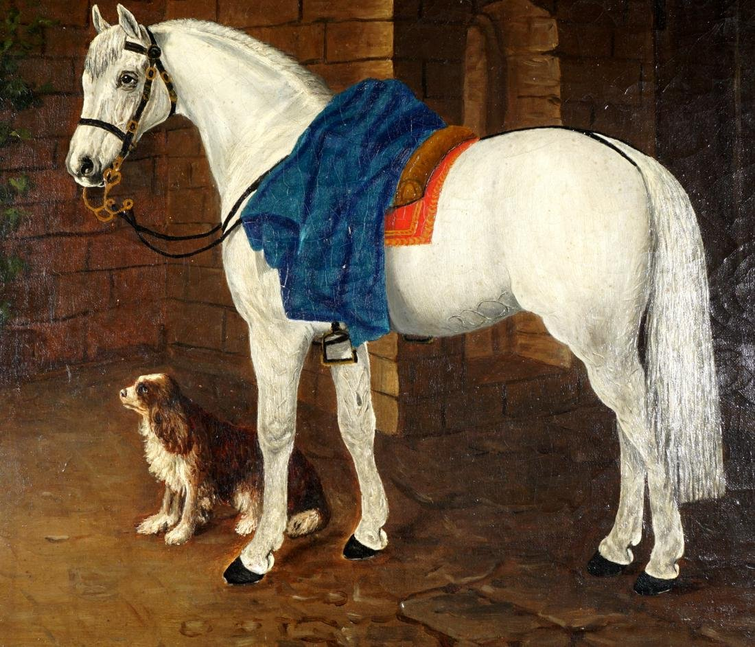 19th Century Horse & Dog Painting Signed Handy - 3