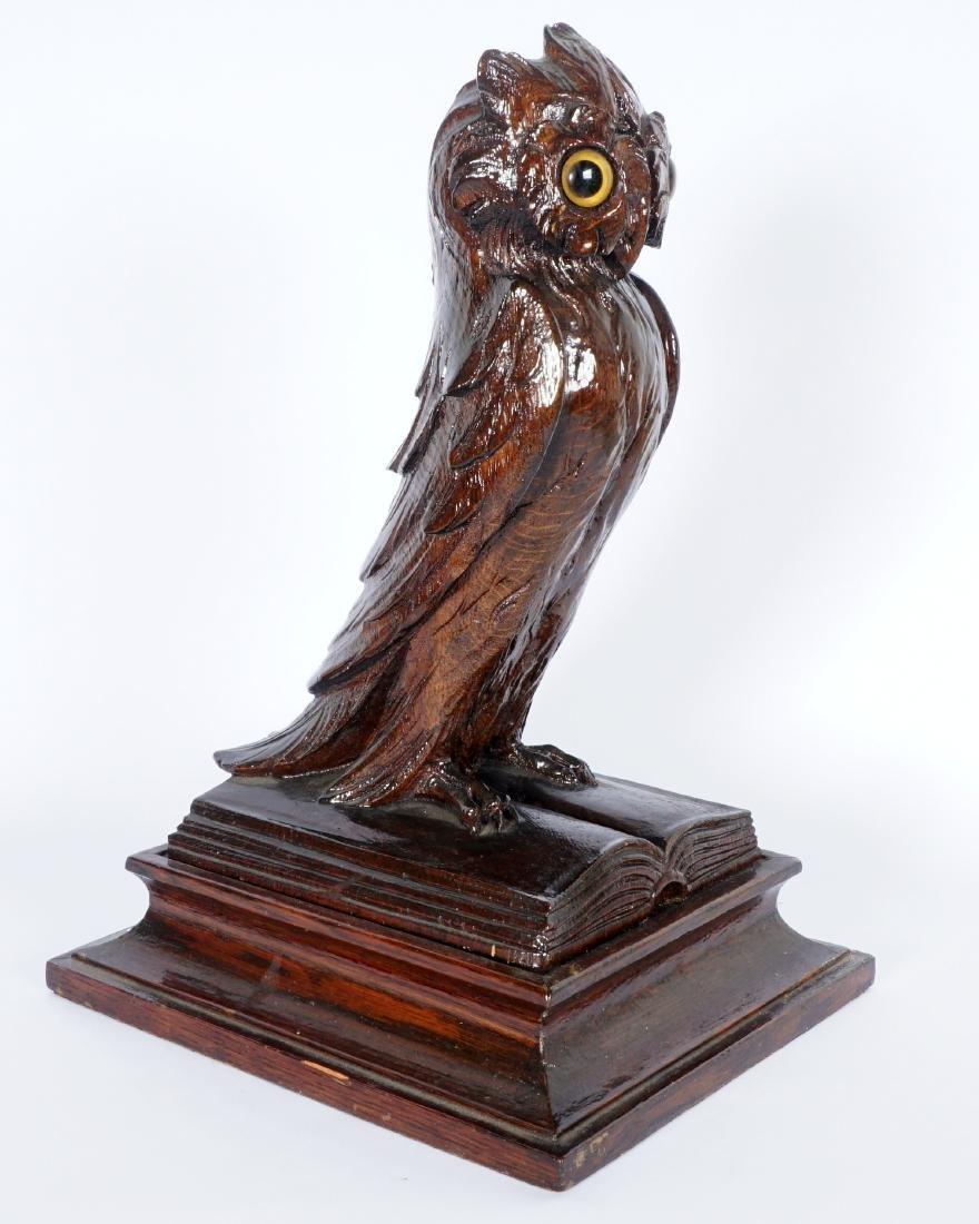 German Black Forest Carved Owl - 2