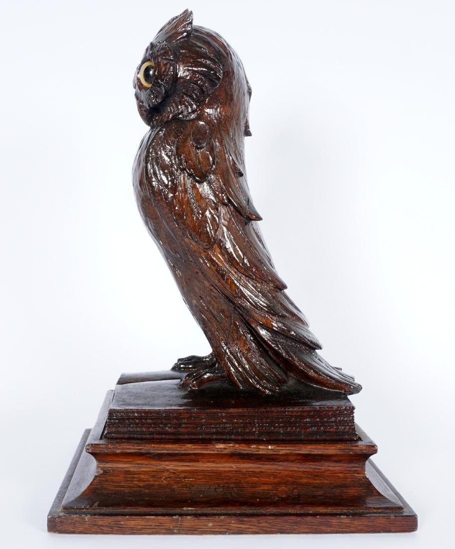 German Black Forest Carved Owl - 3