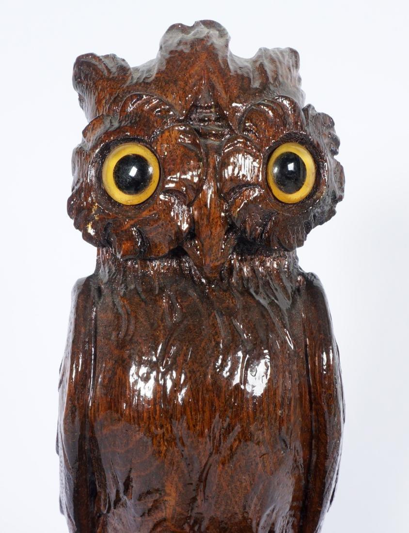 German Black Forest Carved Owl - 8