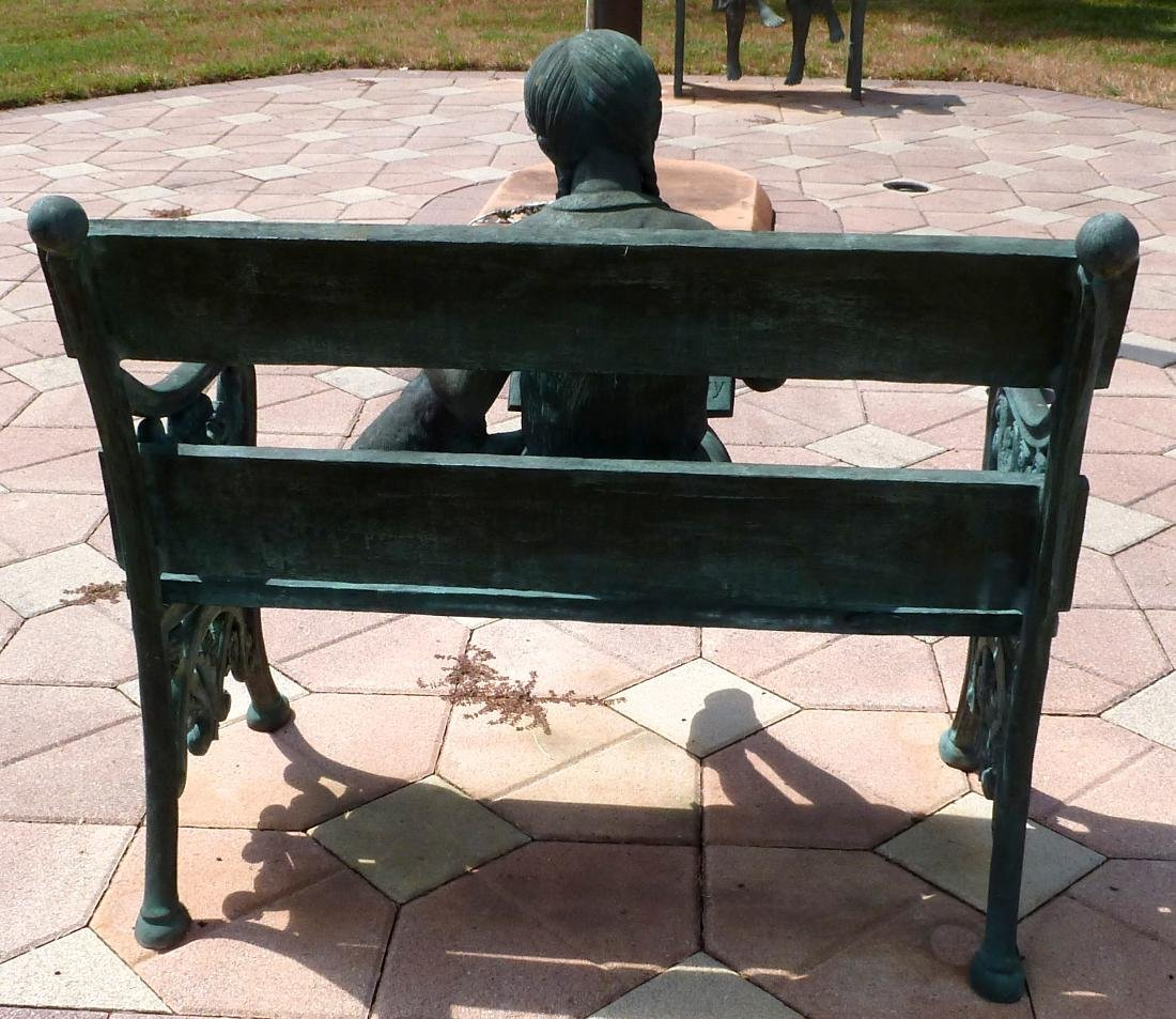 Bronze Garden Sculpture Girl on Bench With Dog - 10