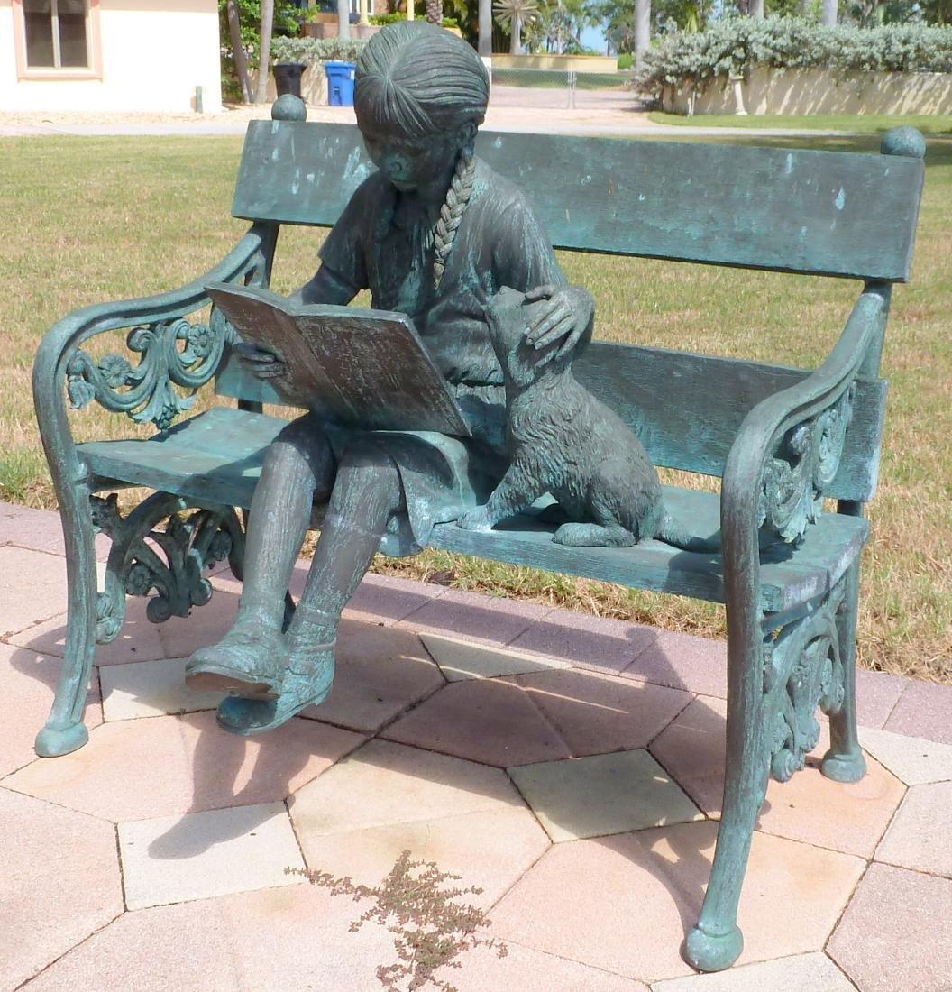 Bronze Garden Sculpture Girl on Bench With Dog