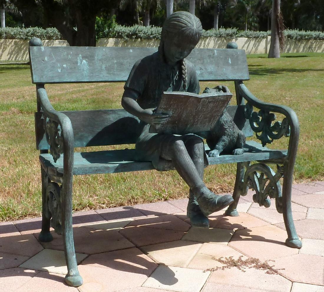 Bronze Garden Sculpture Girl on Bench With Dog - 2