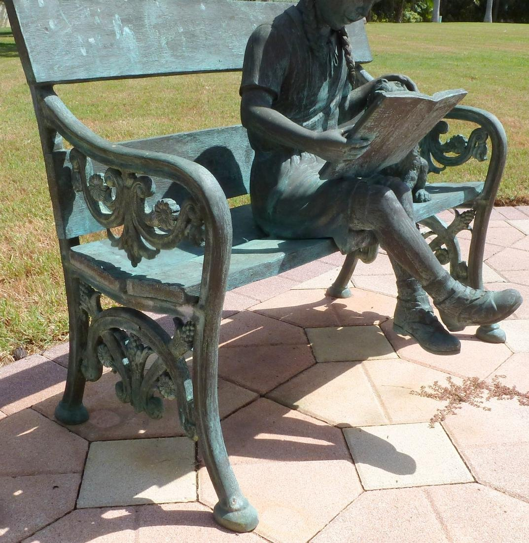 Bronze Garden Sculpture Girl on Bench With Dog - 3